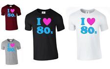 I Love Heart 80s The 80's Retro unisex Pop Fancy Dress Costume (80's, T SHIRT )
