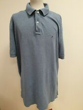 FF739 MENS TOMMY HILFIGER BLUE S/SLEEVE SLIM FIT COLLAR NECK POLO T-SHIRT UK 2XL