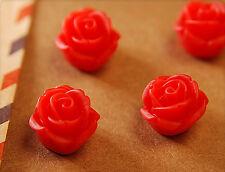 10x Resin Perlen / Cabochons Blumen zum Kleben 12mm rot tm339