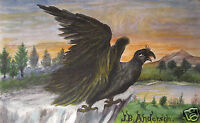 ANTIQUE 19TH AMERICAN FOLK ART 1881 MIDDLETOWN CT FANTASY EAGLE SIGNED PAINTING