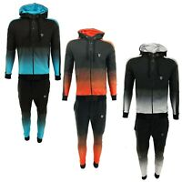Mens Slim Fit Two Tone Tracksuit Set Hoodie Top & Bottoms Joggers Gym Zip Suits