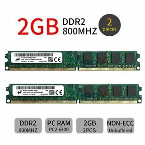 4GB 2x2GB DDR2 800MHz PC2-6400U 240Pin CL6 DIMM Desktop Memory RAM For Micron ZT