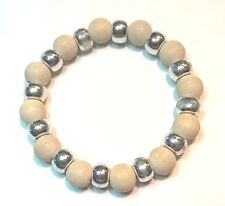 AARIKKA Finland - Bracelet with Light Color Wood and Silver Tone Beads