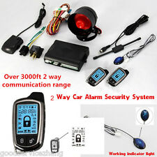 2-WAY PAGER CAR/AUTO SECURITY ALARM SYSTEM KEYLESS ENTRY + LCD DISPLAY REMOTE