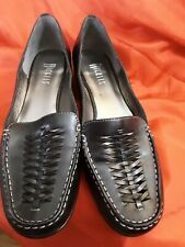 Nickels Womens Black Leather Slip On Flats Loafers Size 8 1/2 Medium preowned