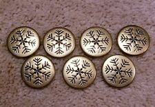 7 Vintage Brass Finish Snowflake Shank Buttons 1 1/8""
