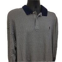 Polo Ralph Lauren Polo Shirt Size XXL Long Sleeve White Navy Stripe Brown Pony