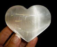 Selenite Crystal Polished Heart Morocco Reiki Healing