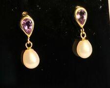 9ct Yellow Gold Tear Drop Amethyst & Pearl Dropper Earrings Hallmarked