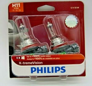 PHILIPS X-TREME VISION H11 12362XVS2 CAR HEADLIGHT 55 WATTS HALOGEN BULB (PAIR)