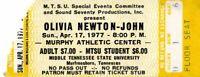 OLIVIA NEWTON-JOHN 1977 MIDDLE TENNESSEE STATE UNIVERSITY CONCERT TICKET STUB~EX