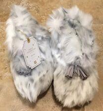 NEW Pottery Barn Teen SMALL Ankle Tassel Faux Fur Booties GRAY LEOPARD