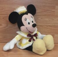 "Genuine Disney Minnie Mouse 16"" (Inch) Yellow Polka Dot Dress Plush Toy **READ**"