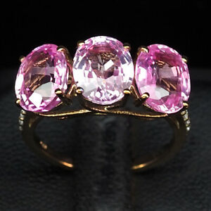 SAPPHIRE SWEET PINK OVAL 7.50CT. 925 STERLING SILVER ROSE GOLD RING SZ 6.5 WOMEN