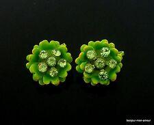 1960's VINTAGE Flower Power Vert Strass oreilles Boucles d'oreilles, boucles d 'Oreilles