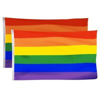 2 Pack Gay Pride Flag,Rainbow Flags Large Indoor Outdoor Lgbt-Festival Dive U6Q1