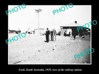 OLD 8x6 HISTORIC PHOTO OF COOK SOUTH AUSTRALIA THE RAILWAY STATION c1929