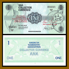 ANA 1 Dollar Collector Currency, Series 1988 Blue Over Print 1992 S/N 004048 Unc