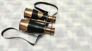 binocular~ Marine Black Leather Brass Victorian Binocular Brown Antique Finish