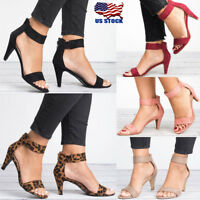 Women's Ladies Low Block Heel Open Toe Sandals Ankle Strap Work Smart Shoes Size