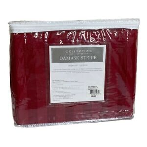 """NEW Collection Charter Club Bed Skirt Queen Red Damask Stripe 500 TC Cotton 16"""""""