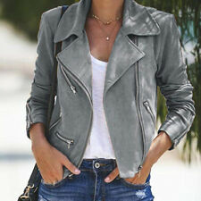 US Women Ladies Leather Jacket Coats Zip Up Biker Casual Flight Top Coat Outwear