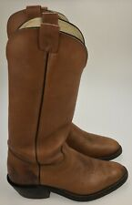 """Men's 10.5 D - Vintage OLATHE BOOT Cowboy Western 18"""" Tall Brown Boots USA Made"""
