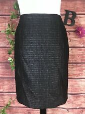 Tribal Skirt size 8 Black Faux Leather Textured Straight Pencil Stretch Knee