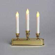 Triple Flameless LED Drip Candle Sticks Window Candelabra Daylight Sensor