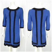 Womens Alice + Olivia Jumper Dress Blue Viscose Wool Short Sleeve Size M