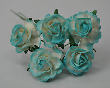 25 CYAN WHITE FLORIBUNDA ROSE Mulberry Paper weddings crafts cardmaking