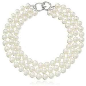 """KENNETH JAY LANE, 3 ROW GLASS PEARL NECKLACE WITH PAVE CRYSTAL CLASP """"THE BAR..."""