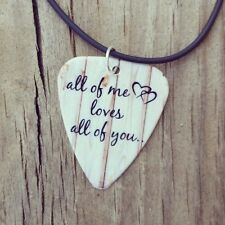 All of me loves all of you guitar pick on black necklace with love quote jewelry