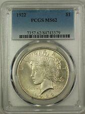 1922 Silver Peace Dollar $1 PCGS MS-62 (Better Coin) (16e)
