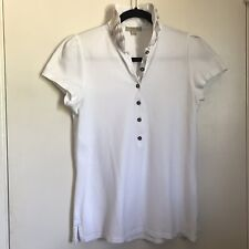 Burberry Brit White Polo XL Nova Trim Collar Women's