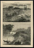 Mississippi Levees Flooding Disaster Panic 1884 wood engraved print