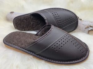 Men Slippers Natural Leather Flat Close Toe Slides Size US 10.5-11 EU 44