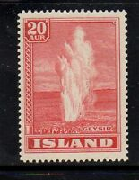 Iceland Sc 204 1938 20 aur rose red Geyser stamp mint Free Shipping