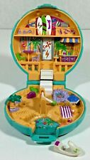 Vintage 1989 Polly Pocket Beach Party Bluebird Blue Shell Compact with Jet Ski