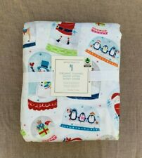 Pottery barn Kids Snow Globe Organic Flannel Twin Duvet Cover Red Green blue
