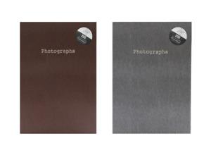 """7""""x5""""- 200 Pockets Slip-in Snake Skin Print Design Photo Album - Brown + Grey"""