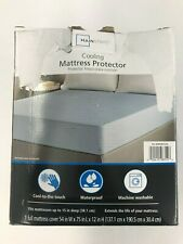 """Mainstays Cooling Mattress Protector, Full, 54"""" x 75"""" x 12"""", Blue"""