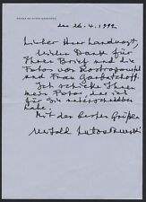 Witold LUTOSLAWSKI (Conductor/Composer): Autograph Letter