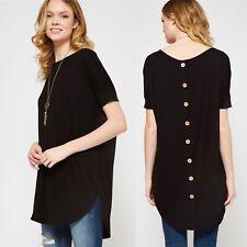 NWT Women's Medium Black Tunic Button Detail Spring Summer blouse Top BOUTIQUE