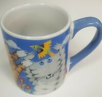 Cool Cats Coffee Mug Cup 2010 Kitties Birds Clouds 11 Oz. Blue Debbie Gibson