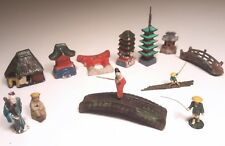 VINTAGE JAPAN BONSAI BONKEI MINIATURES JAPANESE GARDEN FIGURES FISHERMEN 13pcs