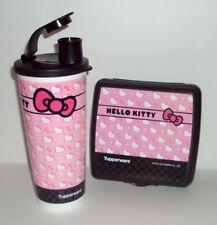 Tupperware Hello Kitty Pink Kids Lunch Box Set Sandwich Keeper Tumbler Flip Top
