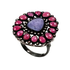 Victorian 925 Sterling Silver Red Ruby Tanzanite  Natural Diamond Ring R-206