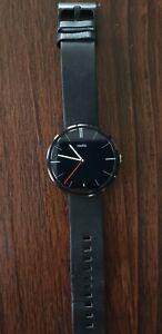 Motorola 360 Smart Watch for Android Wear Black Leather 1st Gen 46mm MINT