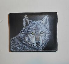 Timber Wolf Leather Wallet for Men Bifold Hand Painted